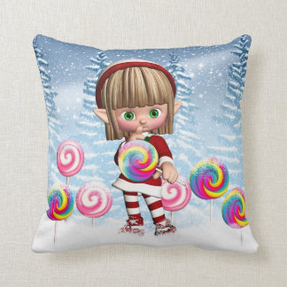 Cute Elf With Christmas Candy Throw Cushions