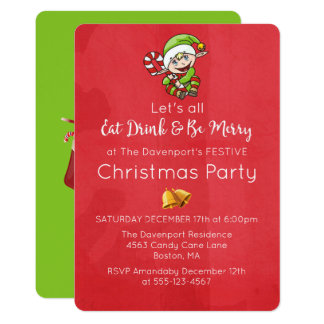 Cute Elf with Christmas Cane Christmas Invitation