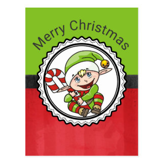 Cute Elf with Christmas Cane Merry Christmas Postcard