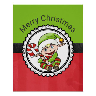 Cute Elf with Christmas Cane Merry Christmas Poster