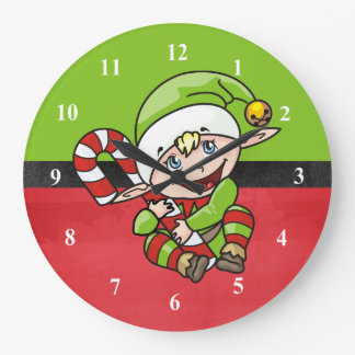 Cute Elf with Christmas Cane Merry Christmas Wallclock
