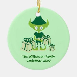 Cute Elf with Presents Ceramic Ornament