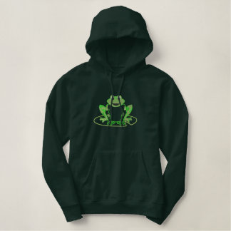 Cute Embroidered Lilypad Frog Embroidered Hoodie