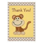 Cute Embroidery Monkey Thank You Baby Shower Custom Invitation