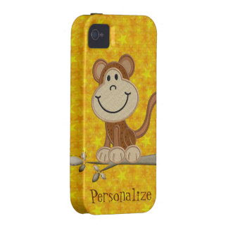 Cute Embroidery Monkey Yellow iPhone 4/4S Case