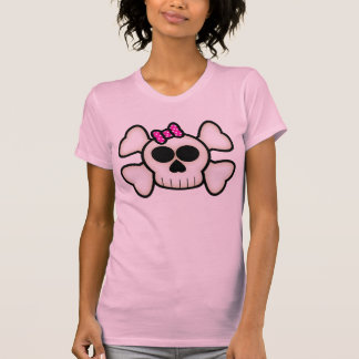 Cute Emo Girl Skull and Crossbones with Bow T-Shirt