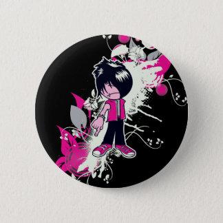 cute emo kid 6 cm round badge