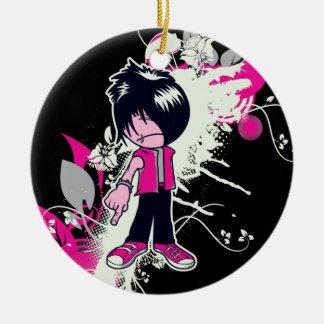 cute emo kid round ceramic decoration