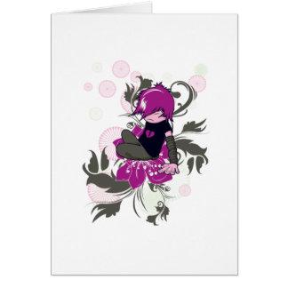 cute emo kid sitting on a flower greeting card