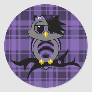 Cute Emo Owl and Plaid Pattern Stickers