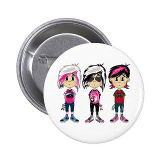 Cute Emo Punk Girls Badge Button