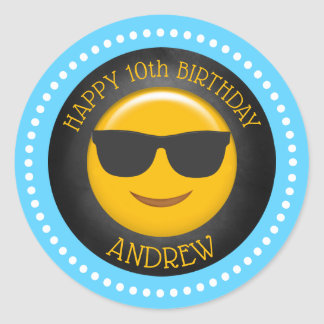 Cute Emoji Birthday Party Classic Round Sticker