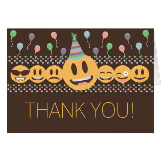 Cute Emoji Birthday Party Thank You Card