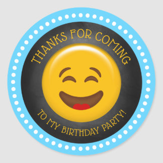 Cute Emoji Birthday Thank You Classic Round Sticker