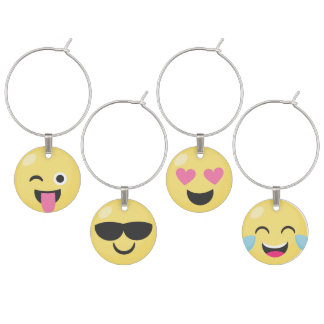 Cute Emoji Expressions Wine Charms
