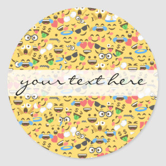 cute emoji love hears kiss smile laugh pattern classic round sticker