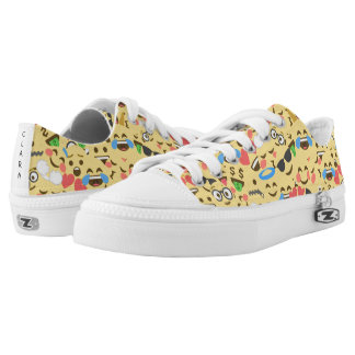 cute emoji love hears kiss smile laugh pattern printed shoes
