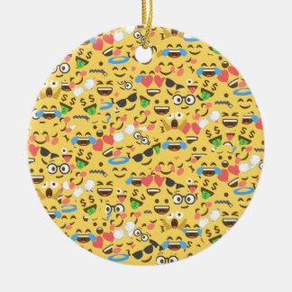 cute emoji love hears kiss smile laugh pattern round ceramic decoration