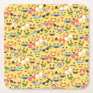 cute emoji love hears kiss smile laugh pattern square paper coaster