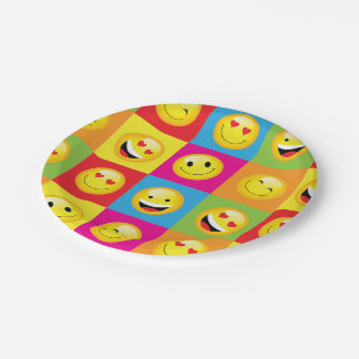 Cute Emoji Party Emoticon Smiley Faces Squares 7 Inch Paper Plate
