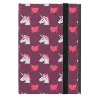 Cute Emoji Unicorn and Hearts Pattern Case For iPad Mini