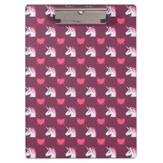 Cute Emoji Unicorn and Hearts Pattern Clipboard