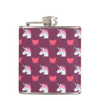 Cute Emoji Unicorn and Hearts Pattern Hip Flask