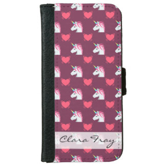 Cute Emoji Unicorn and Hearts Pattern iPhone 6 Wallet Case