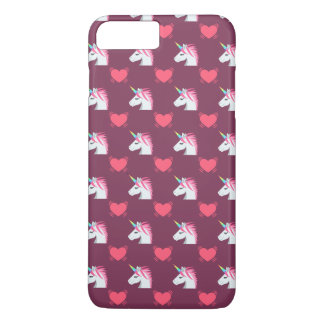 Cute Emoji Unicorn and Hearts Pattern iPhone 7 Plus Case