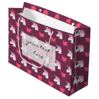 Cute Emoji Unicorn and Hearts Pattern Large Gift Bag