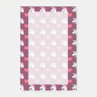 Cute Emoji Unicorn and Hearts Pattern Post-it Notes