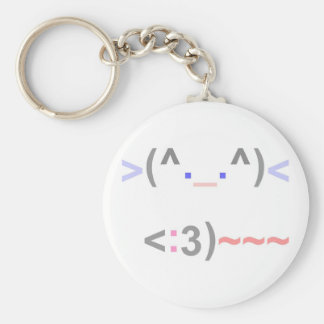 CUTE EMOTICON CAT AND MOUSE! - KEYCHAIN
