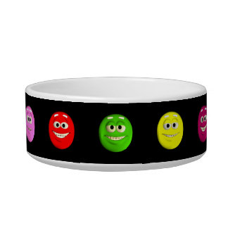 Cute Emoticon Faces Cat Food Bowl