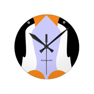 Cute Emperor Penguins Wall Clock