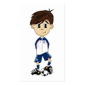 Cute England Soccer Boy Bookmark Business Card Template