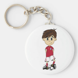 Cute England Soccer Boy Keychain