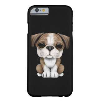 Cute English Bulldog Puppy on Black Barely There iPhone 6 Case