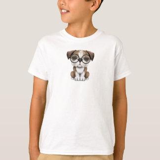 Cute English Bulldog Puppy Wearing Glasses T-shirts