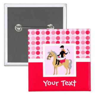 Cute Equestrian Girl. Button