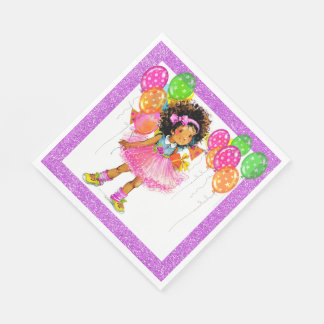 Cute Ethnic Girl Napkins Paper Napkins