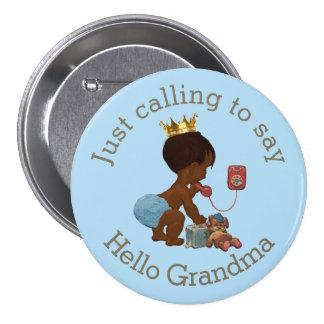 Cute Ethnic Prince Calling to Say Hello Grandma 7.5 Cm Round Badge