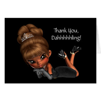 Cute Ethnic Princess Diva Thank You Note Card