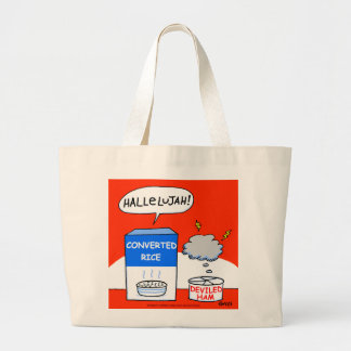 Cute Evangelical Christian Converted Rice Cartoon Large Tote Bag