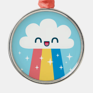 Cute Excited Rainbow Cloud with Sparkles Christmas Tree Ornaments