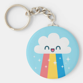 Cute Excited Rainbow Cloud with Sparkles Key Chain