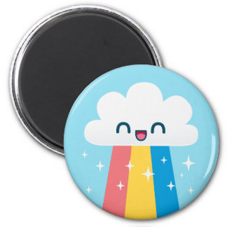 Cute Excited Rainbow Cloud with Sparkles Magnets