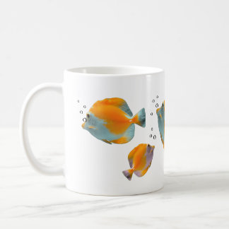 Cute Exotic Vibrant Unique Yellow Butterfly Fish Basic White Mug