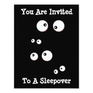 Cute Eyes In the Dark Kids Sleepover Invitation