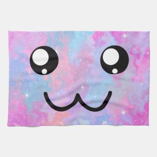 Cute Face Kawaii Pastel Magical Colorfull Tea Towel