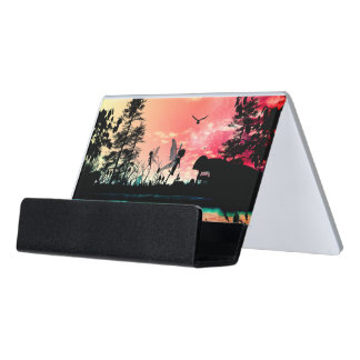 Cute fairies and birds flying in the sunset desk business card holder